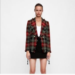 Zara Woman Tweed Checked Jacket